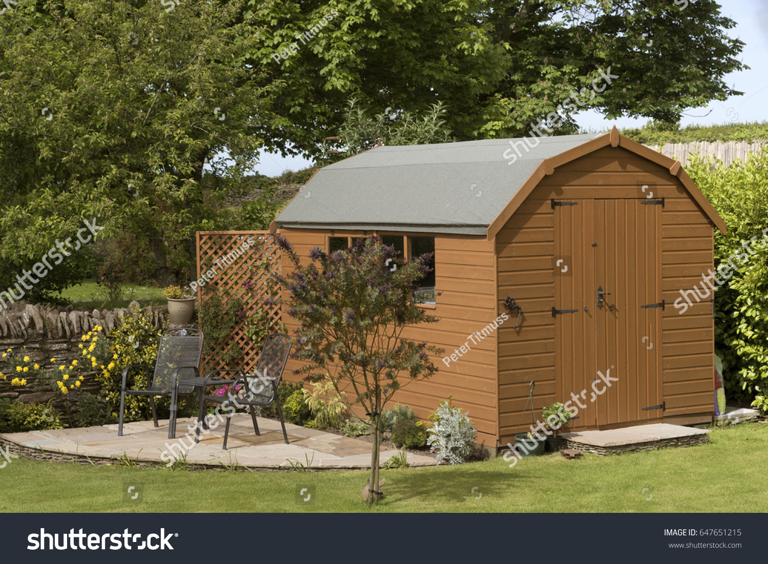 Dutch Barn Style Garden Shed Patio Stock Photo (Edit Now) 647651215 ...