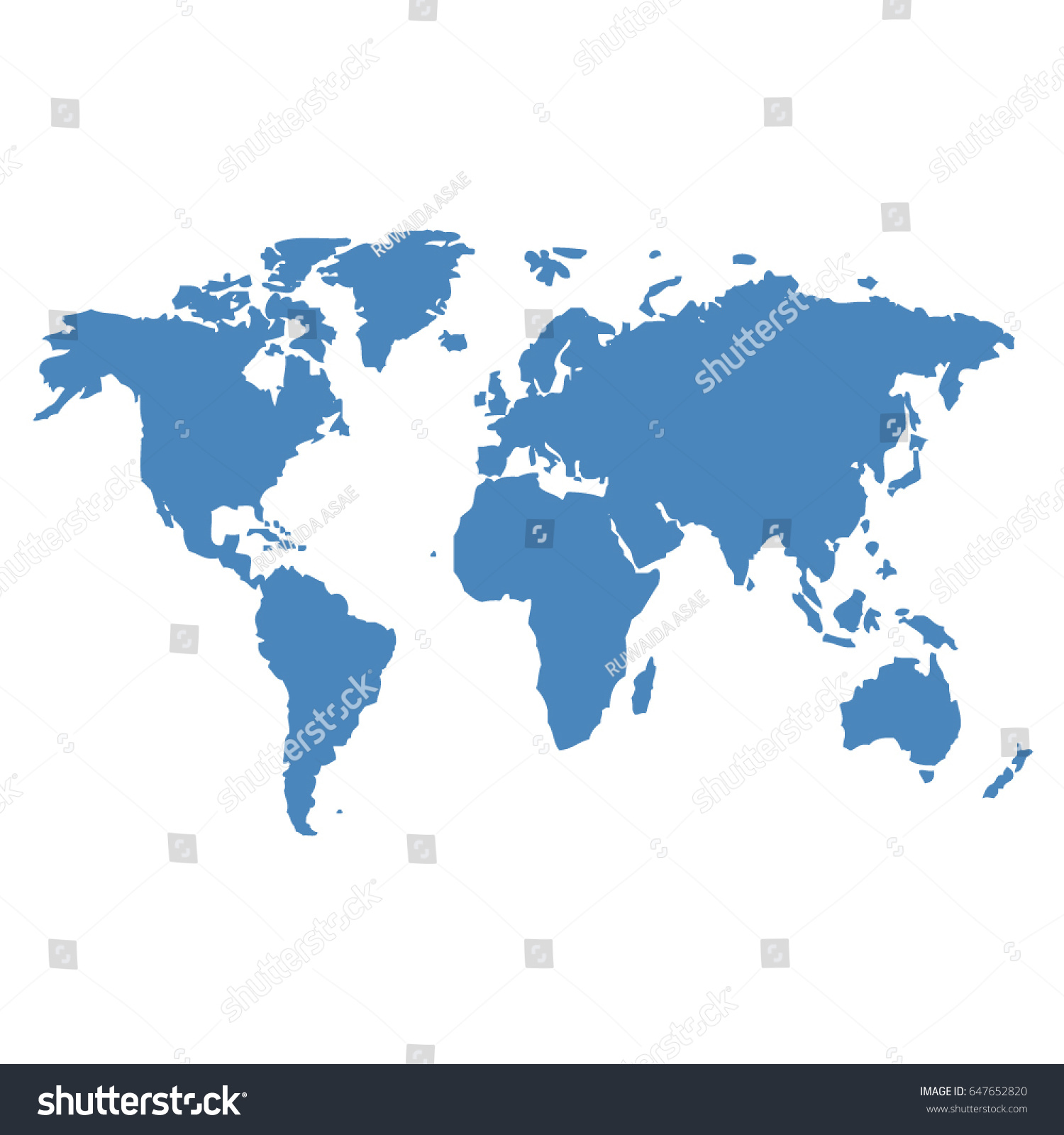 Blue world map vector on white vector de stock647652820 shutterstock blue world map vector on white background gumiabroncs Images