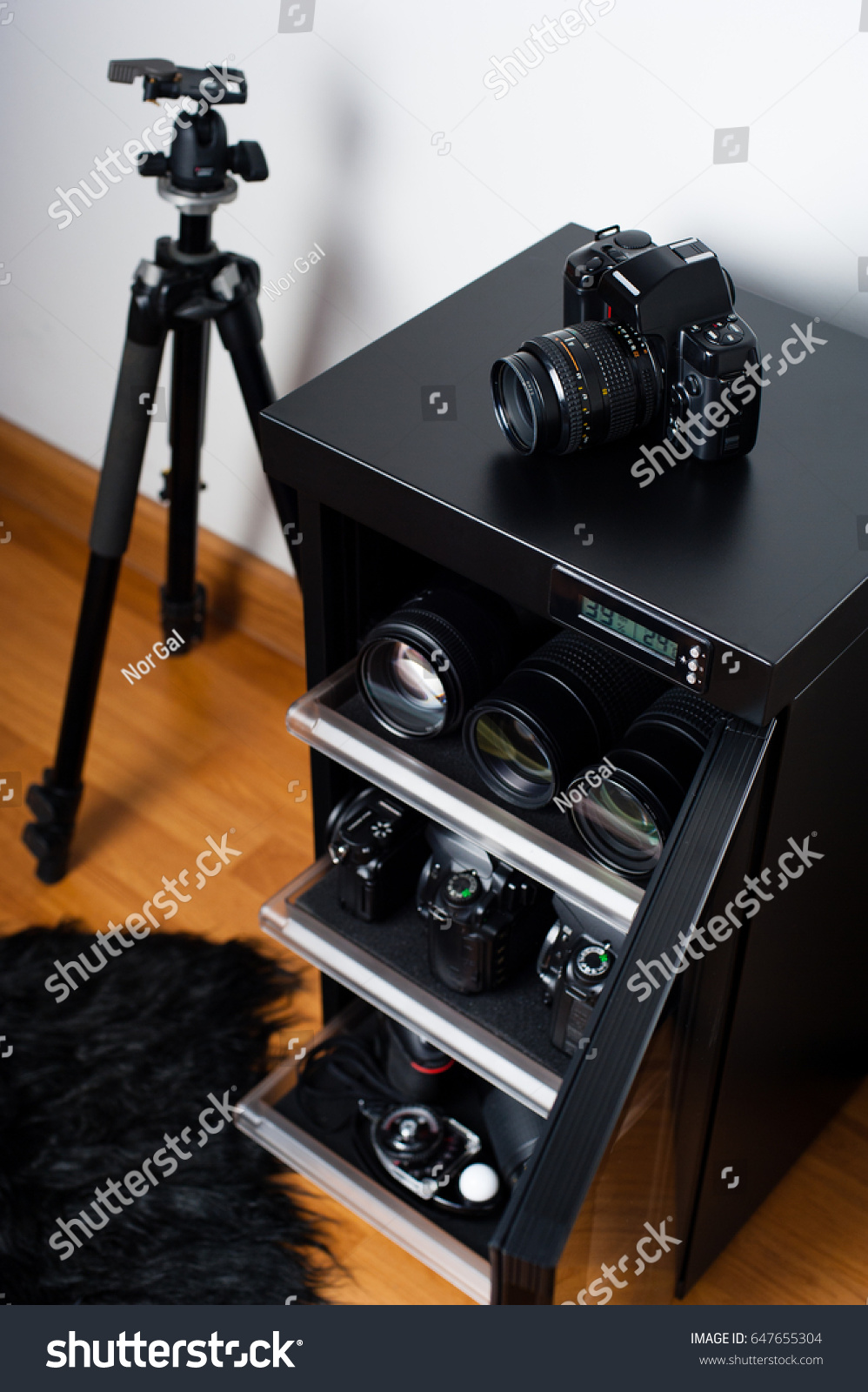 Electronic Dehumidify Dry Cabinet Storage Cameras Stock Photo Edit Drybox Camera Mirrorless Canon Eos M10 For Lens And Other Photography Equipment Shallow Depth Of