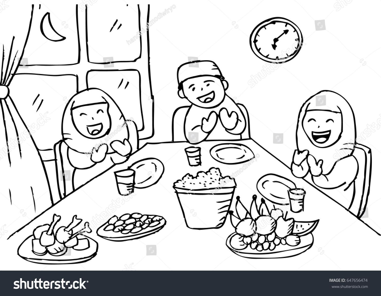Illustration Muslim Family Praying After Eating Stock Vektorgrafik