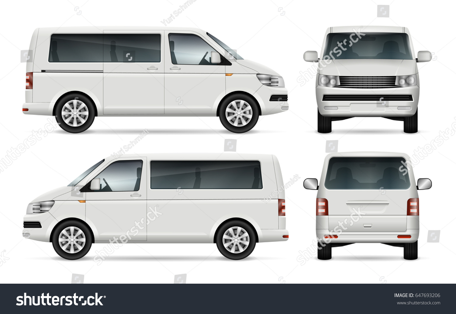 Mini Bus Vector Template Car Branding Stock Vector ...
