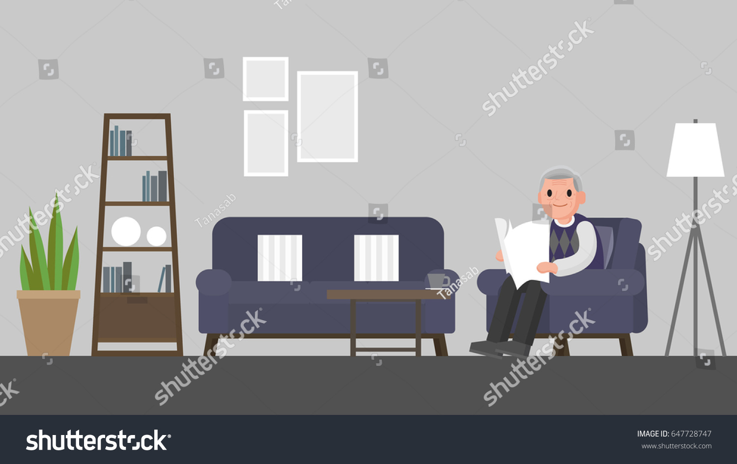 Grandfather Sitting On Sofa Living Room Stock Vector 647728747