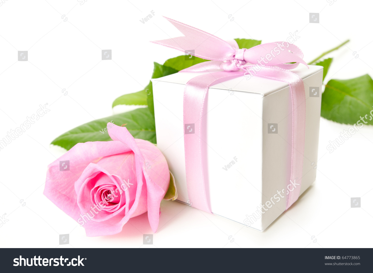 Pink Rose Gift Box On White Stock Photo (Edit Now) 64773865 ...