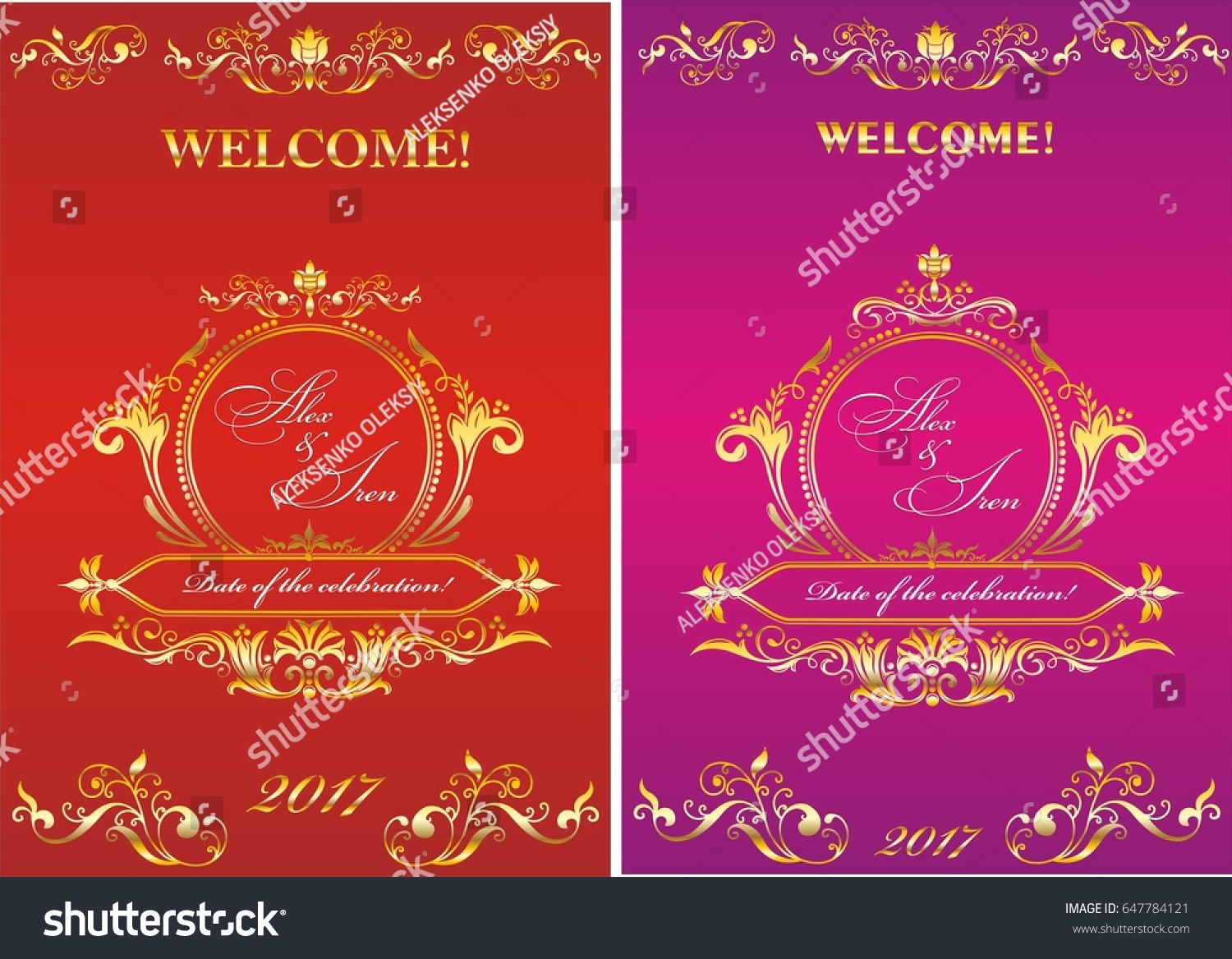 Template Invitation Wedding Vintage Frame On Stock Vector (Royalty ...
