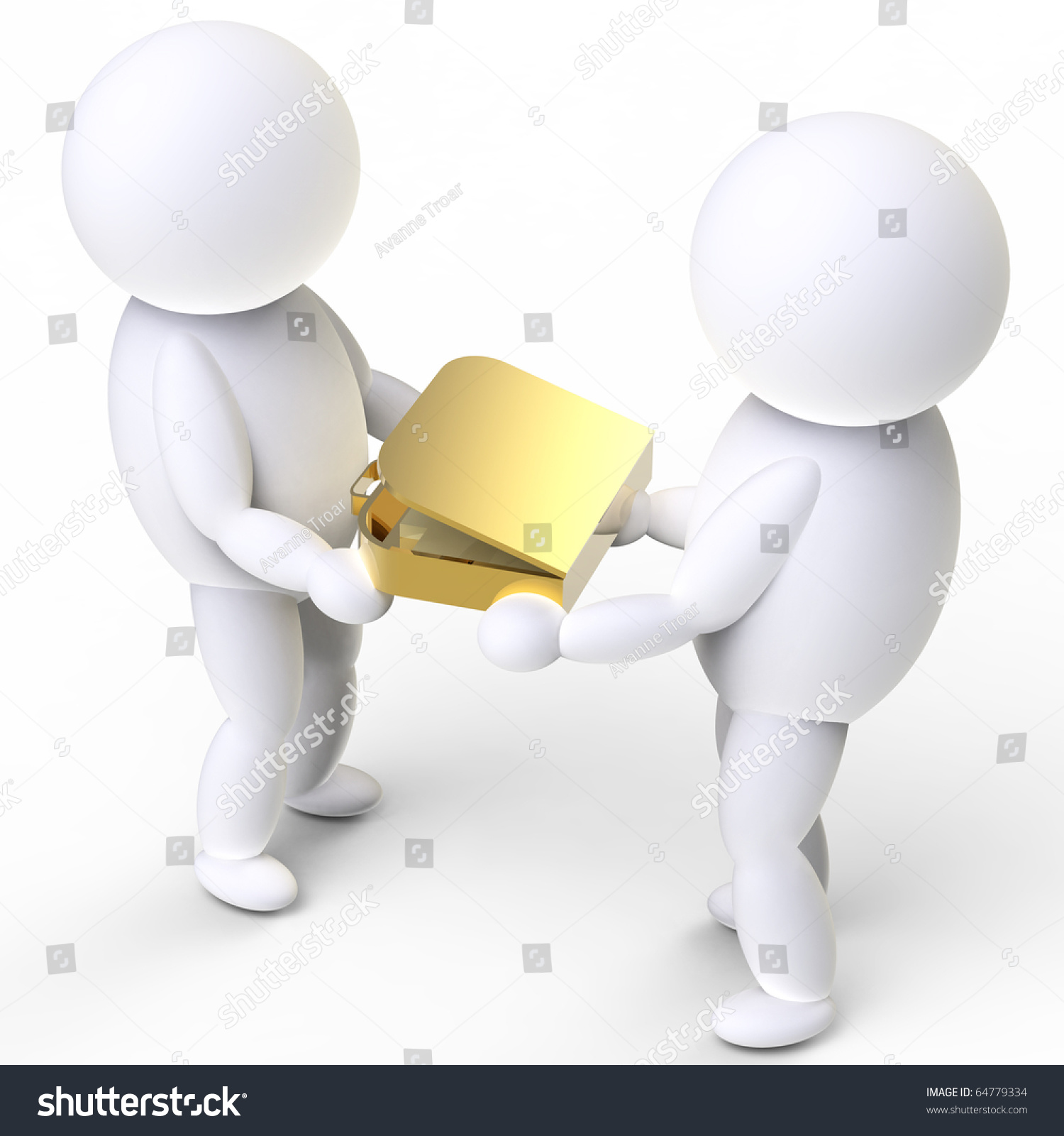 Two Person Handover Golden Suitcase Stock Illustration Royalty
