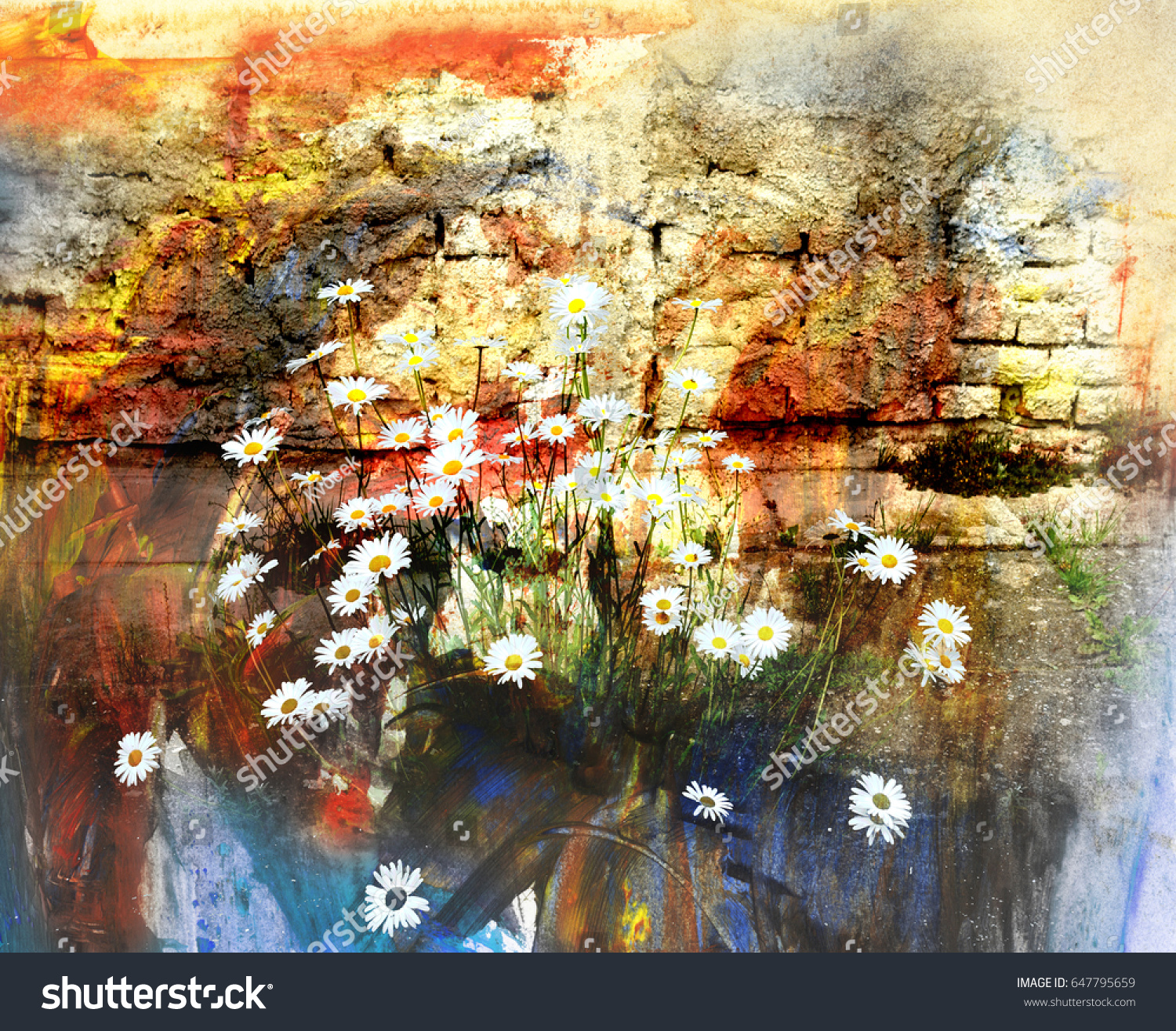 Blooming Daisies With A Wall Oil Painting And Combined Technique