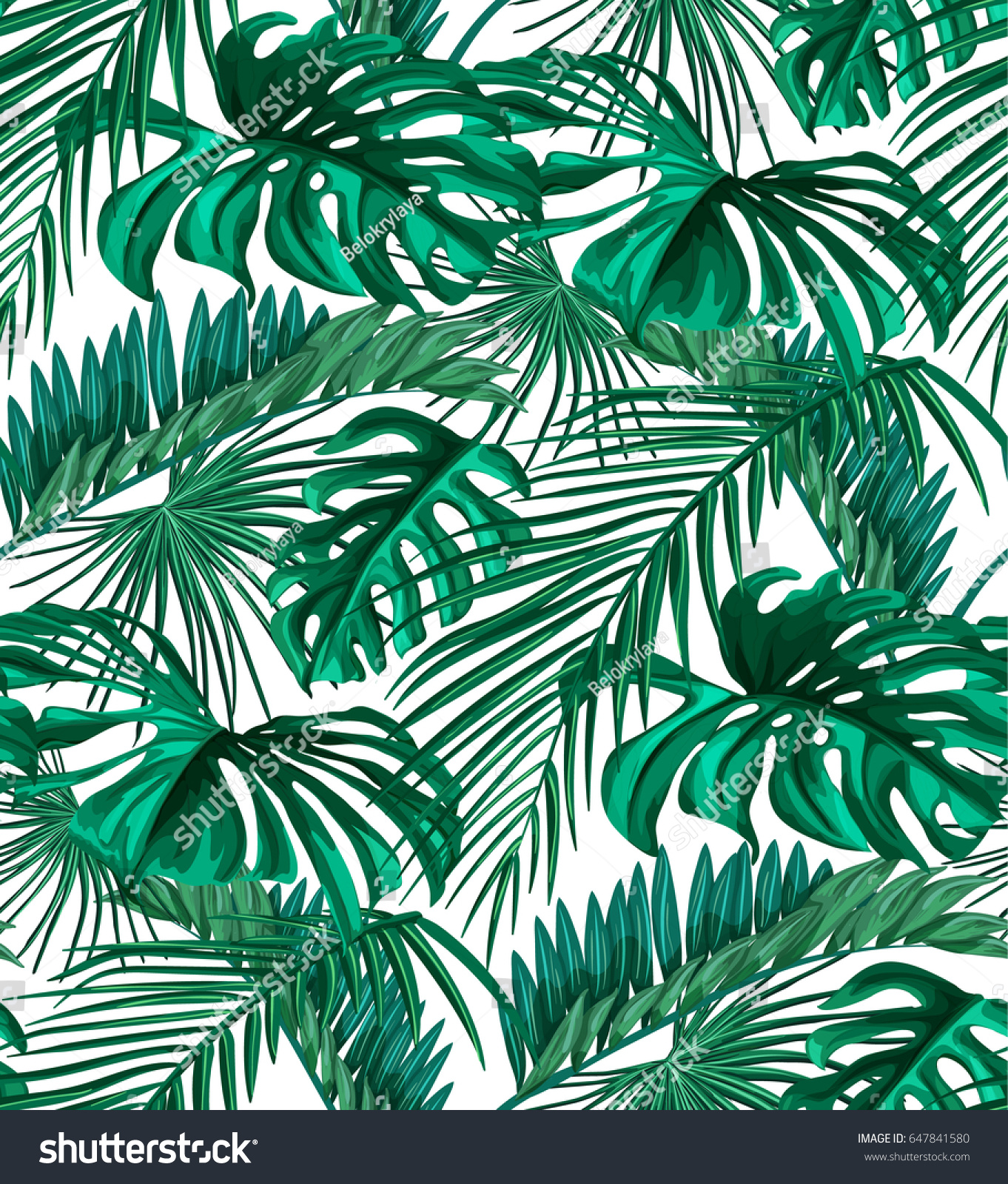 Seamless Pattern Tropical Leaves Green Palm 647841580