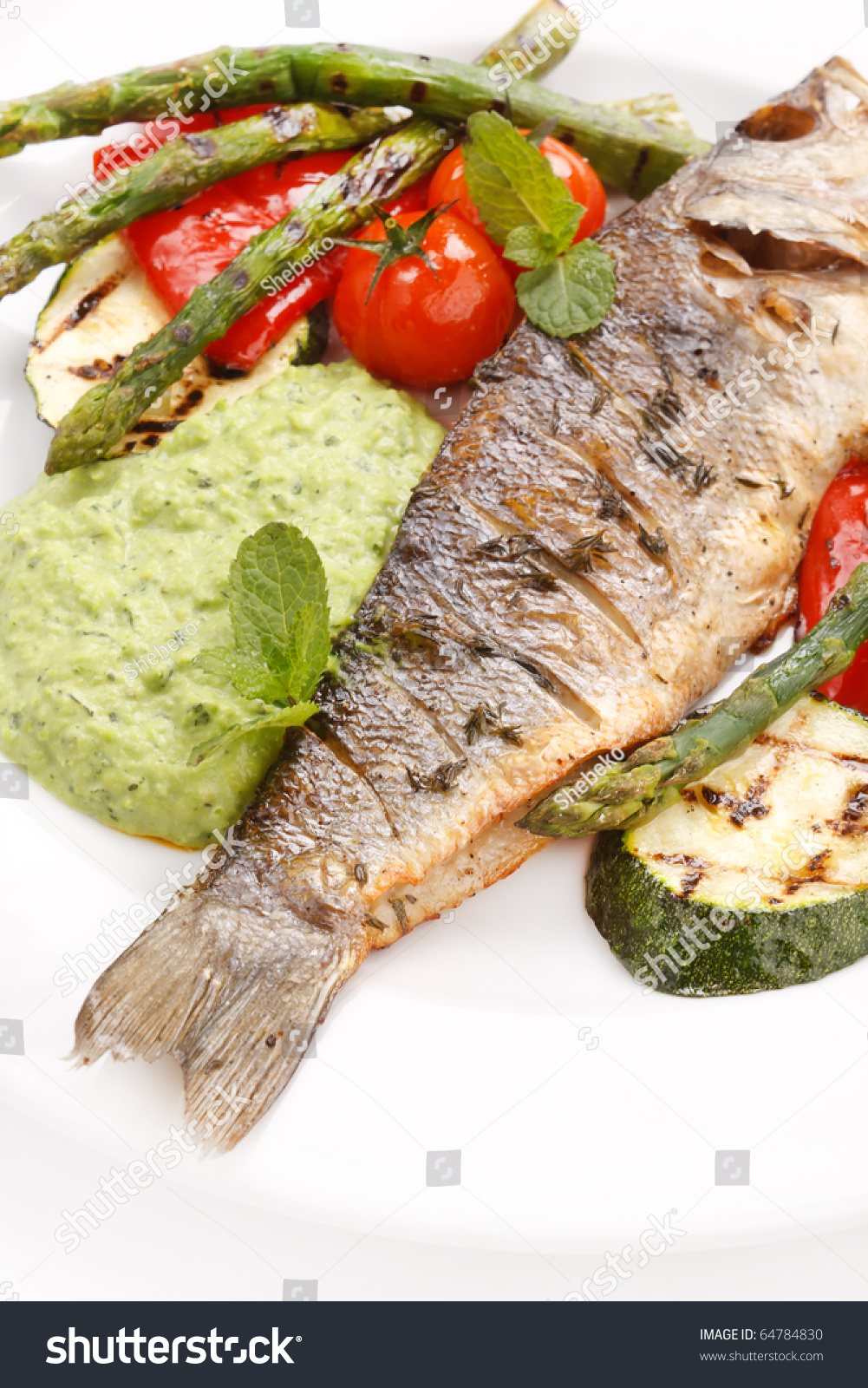 Grilled fish vegetables sauce stock photo 64784830 for Fish with vegetables