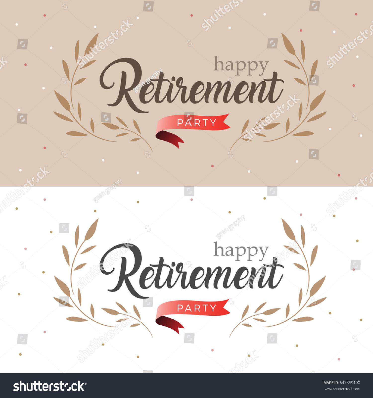 happy retirement party elegant logo design stock vector royalty