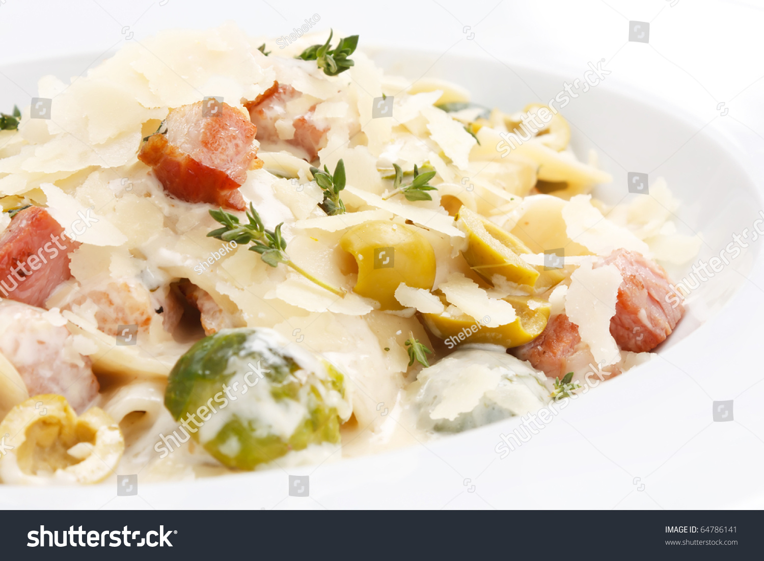 Pasta With Bacon And Vegetables Stock Photo 64786141 : Shutterstock