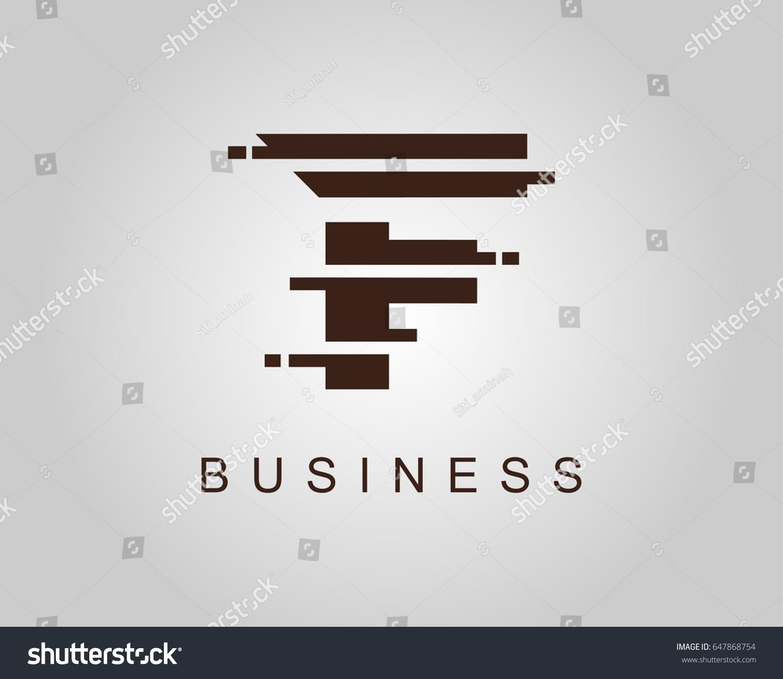 f logo letter f pixel logo design template