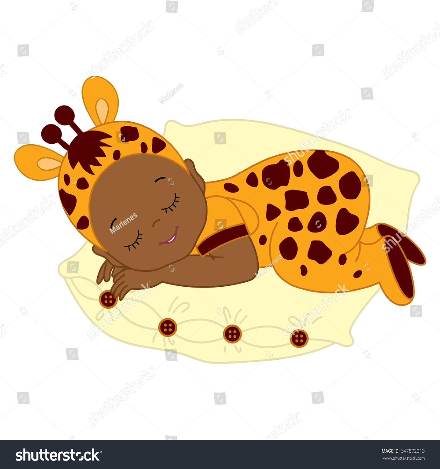 Vector African American cute baby in giraffe costume sleeping. Baby in giraffe outfit sleeping on  sc 1 st  Shutterstock & Vector African American Cute Baby Giraffe Stock Vector 647872213 ...