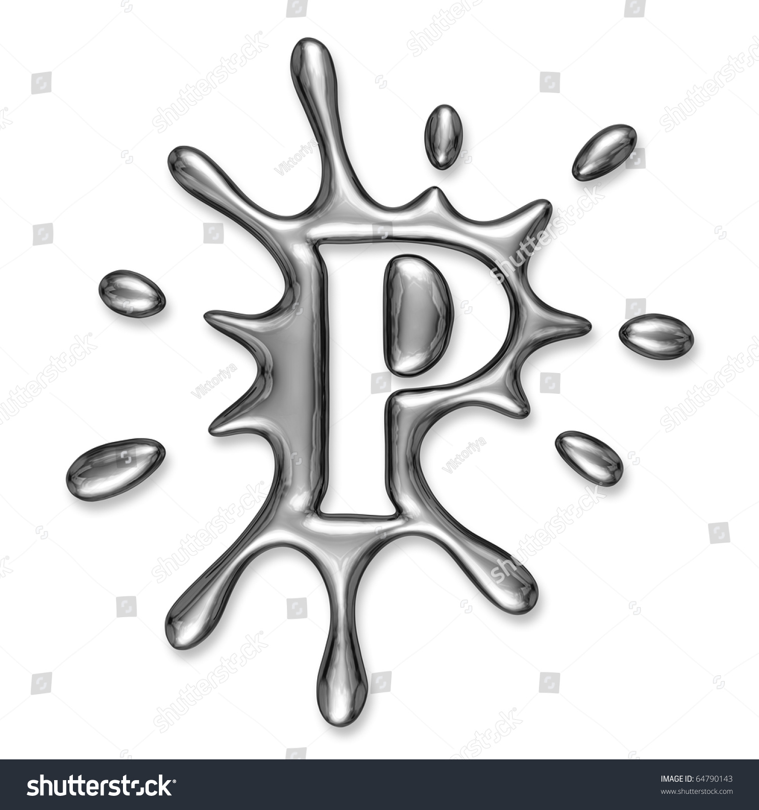 liquid metal letter s alphabet symbol isolated on a white
