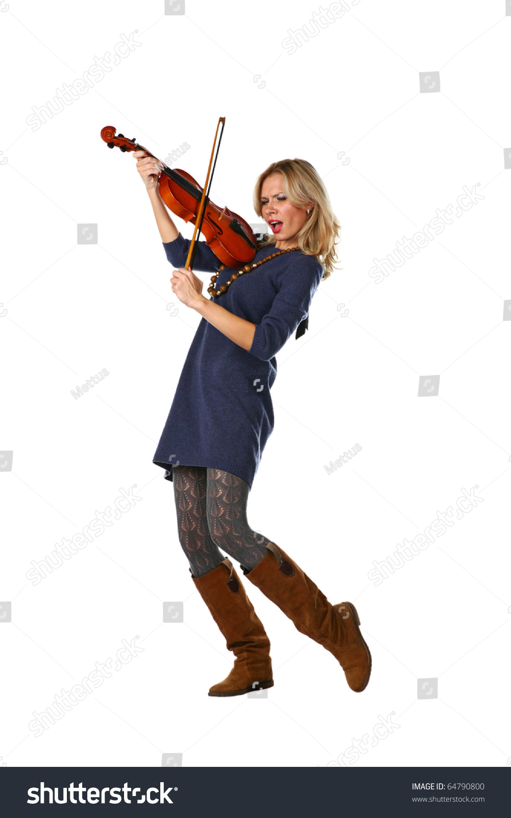 Blond haired lady playing violin expressing extreme emotions. She is having fun. Full length portrait of a female violinist isolated on white background.