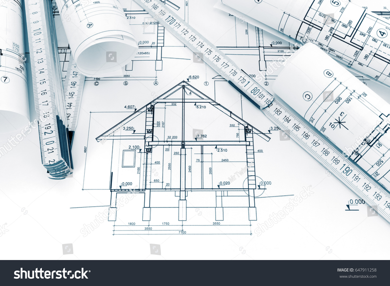 Rolls technical drawings plans blueprints house stock photo rolls of technical drawings with plans and blueprints for house construction ccuart Images