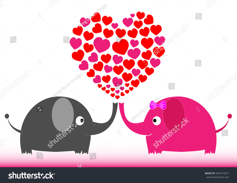 Valentine Elephant   Illustration Heart Shape, Love, Abstract, Animal, Art