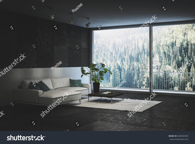 Designer Trendy Black Living Room Interior Stock Illustration ...