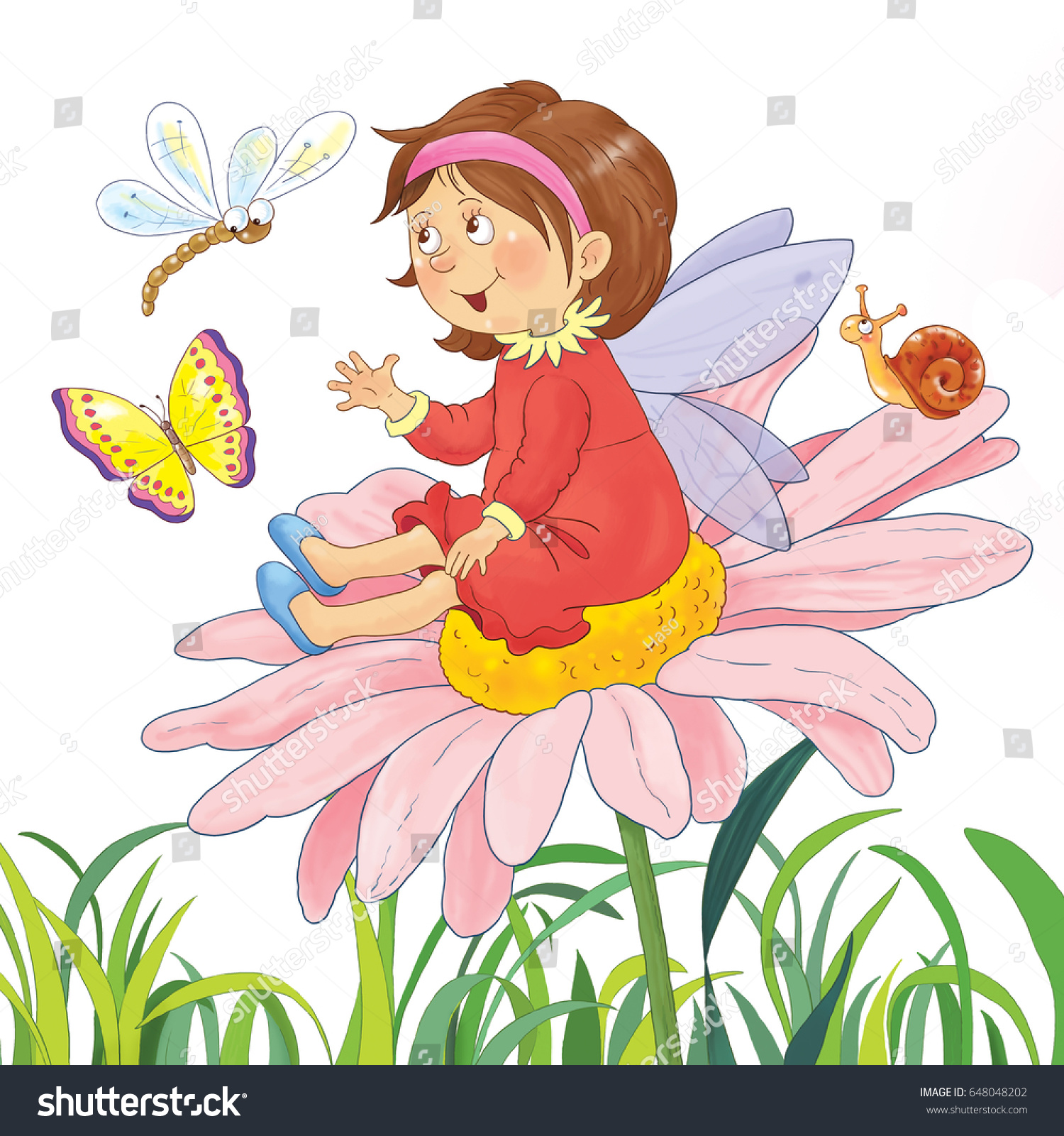 Cute Fairy Sitting On Flower Chatting Stock Illustration 648048202 ...