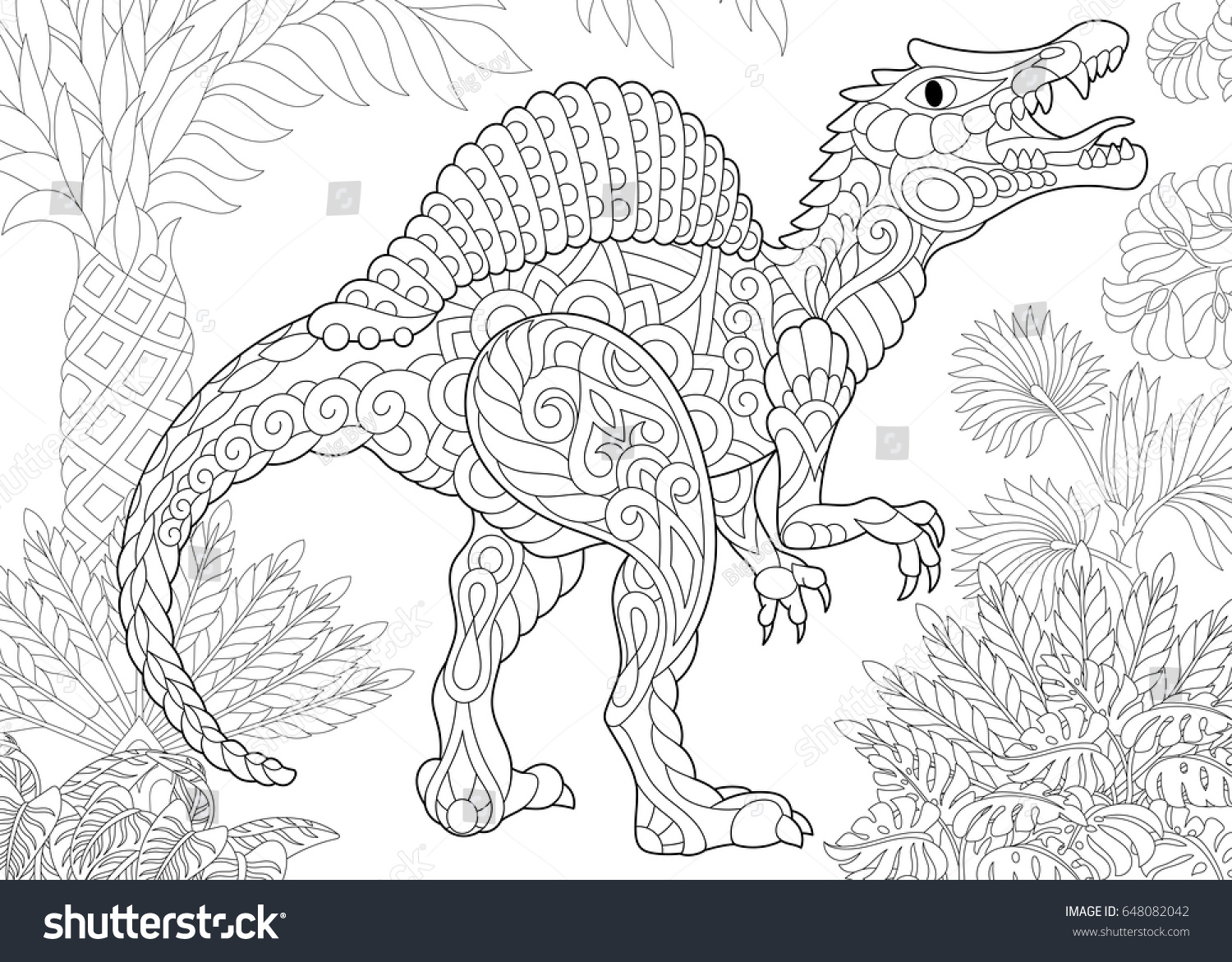 stylized spinosaurus dinosaur middle cretaceous period stock