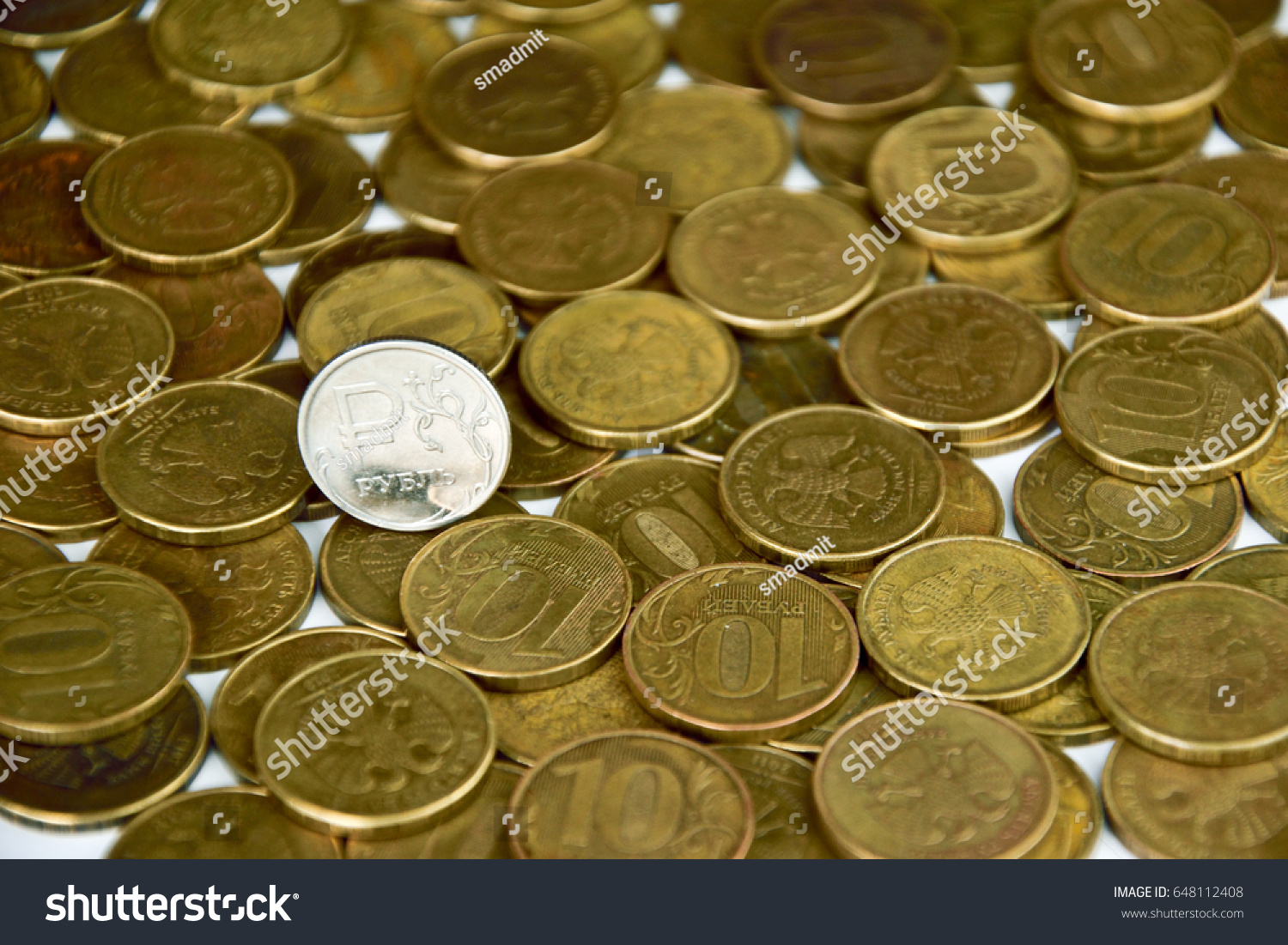 Coin With Symbol Of Russian Ruble On The Yellow Coins Background