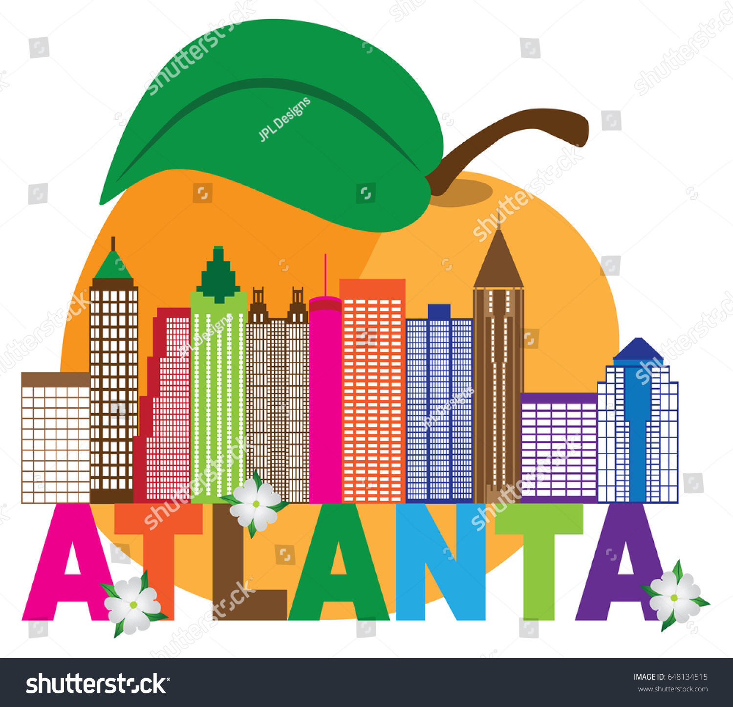 Atlanta Georgia City Skyline Abstract Peach Stock-Vektorgrafik ...