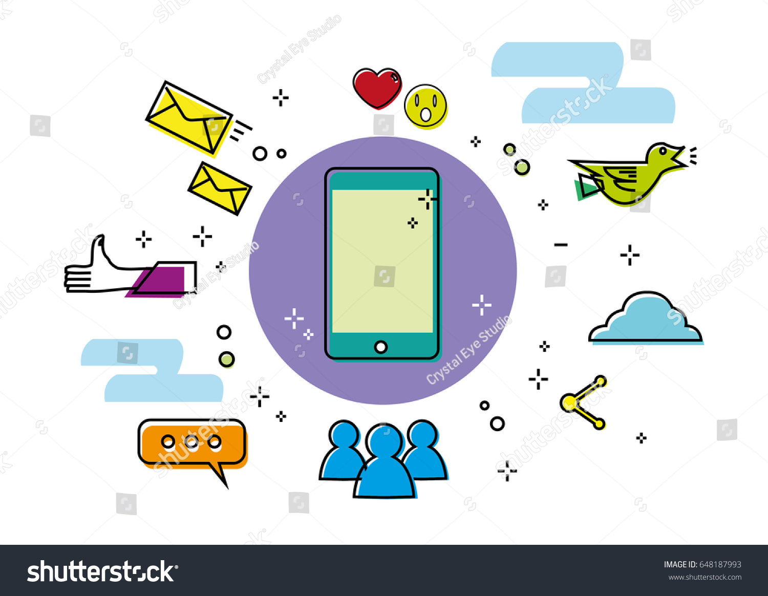 Linear Style Art Mobile Phone Surrounded Stock Vector