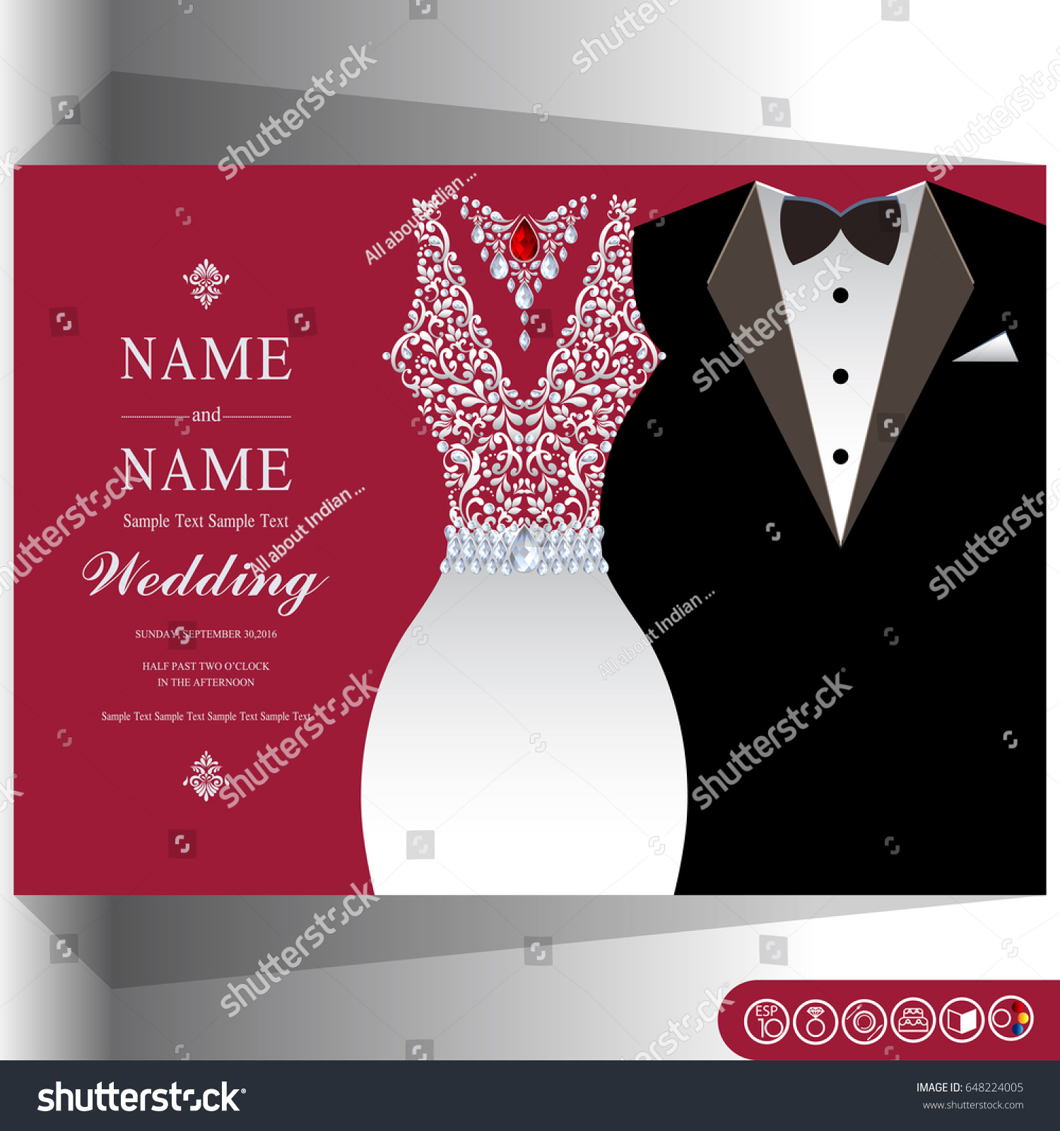 Wedding Invitation Card Templates Man Women Stock Vector 648224005 ...