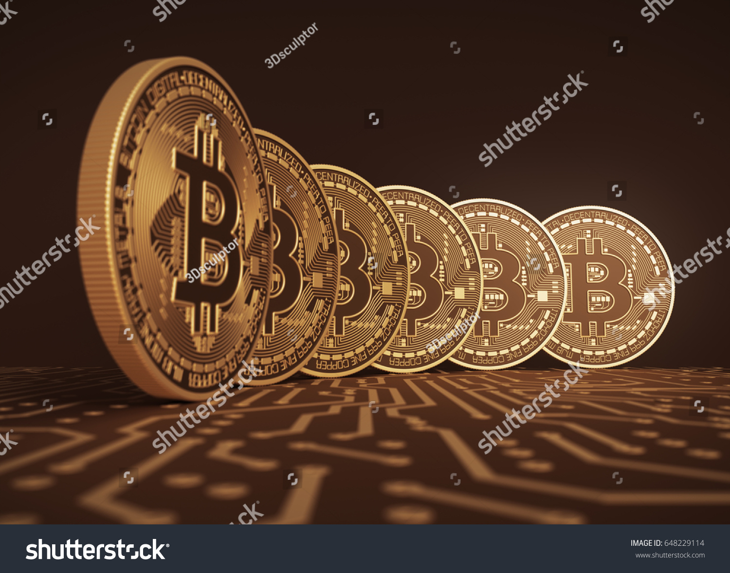 Six Virtual Coins Bitcoins On Printed Stock Illustration 648229114 Pcb The Printedcircuitboard 3d Royalty Free Photography Circuit Board
