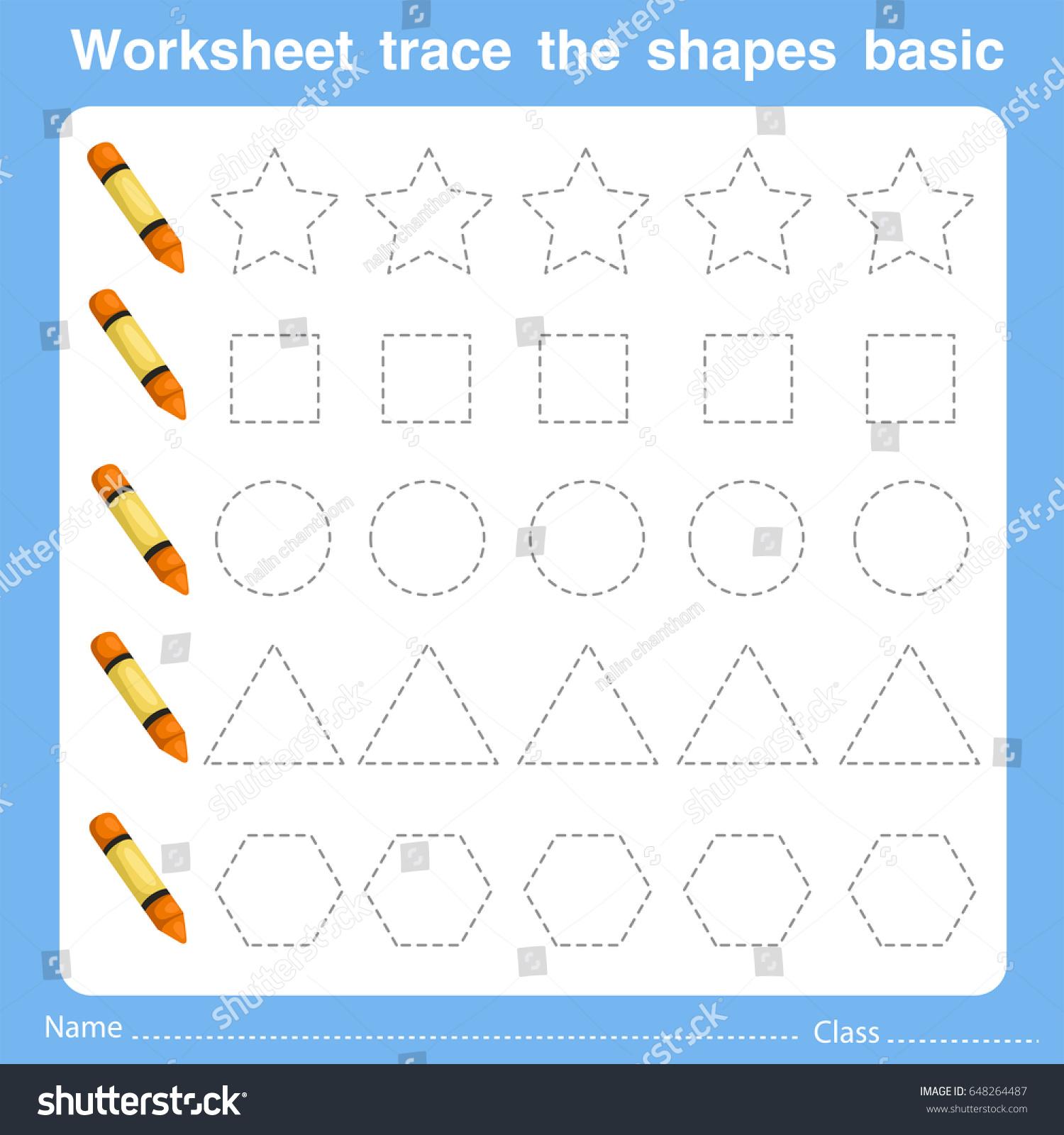 Illustrator Worksheet Trace Shapes Basic Three Stock Vector