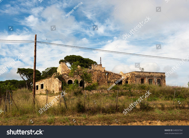 Old Damaged Spanish Building Nature Landscape Stock Photo