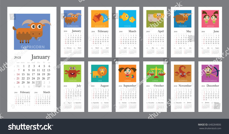 Creative Calendar 2018 Horoscope Signs Zodiac Stock Vector ...
