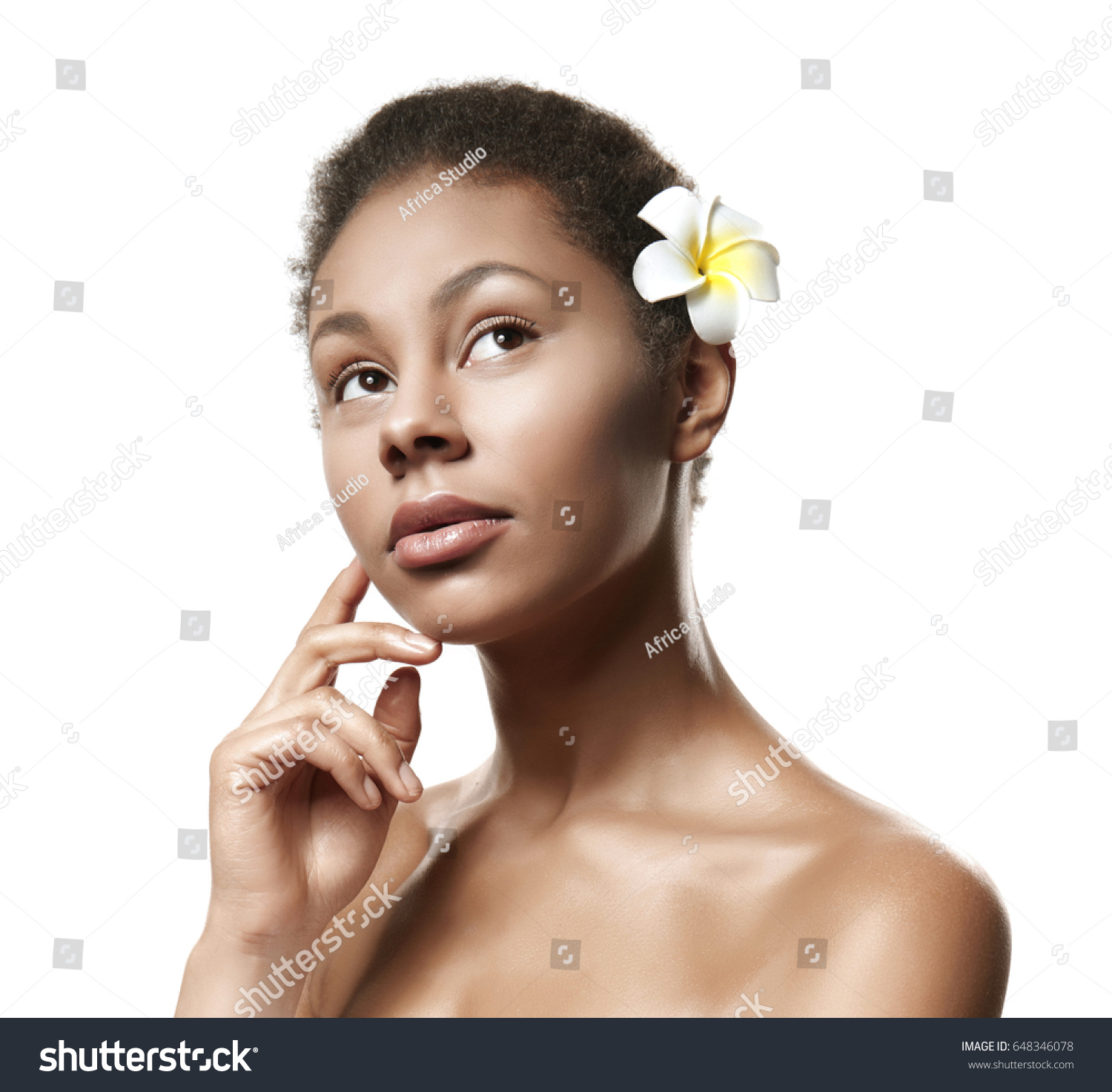 Beautiful African American Girl Plumeria Flower Hair Stock Photo