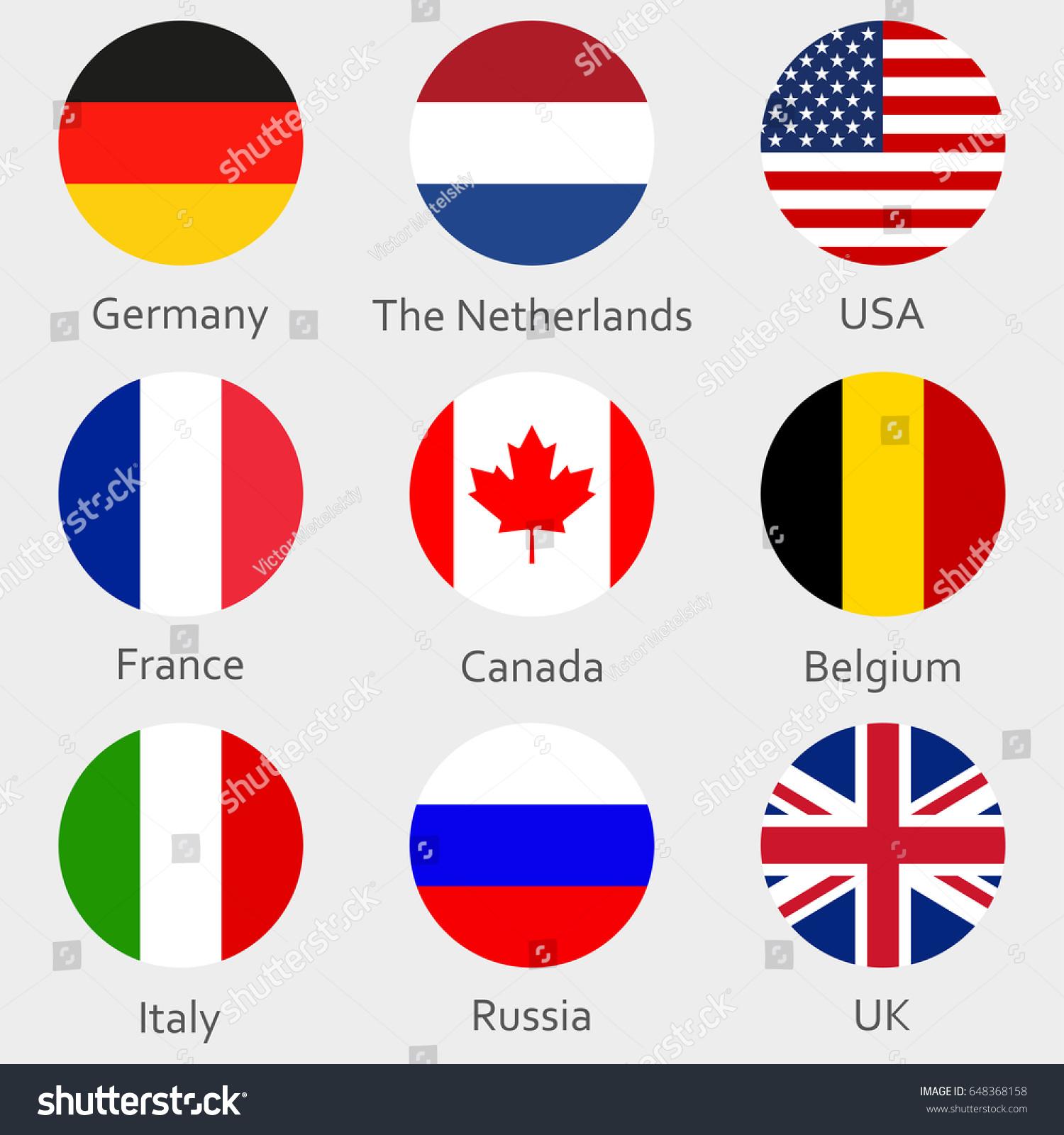 Circle Flags Icon Badges Set Round Stock Illustration 648368158