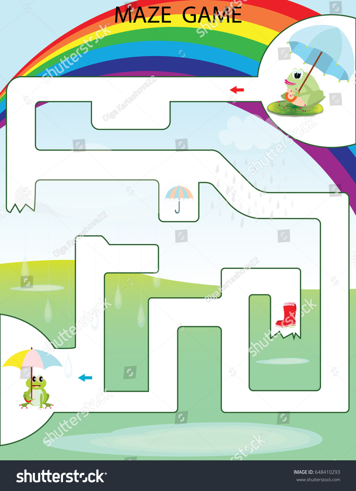 Maze Game Kids Printable Game Vector Stock Vector 648410293 ...