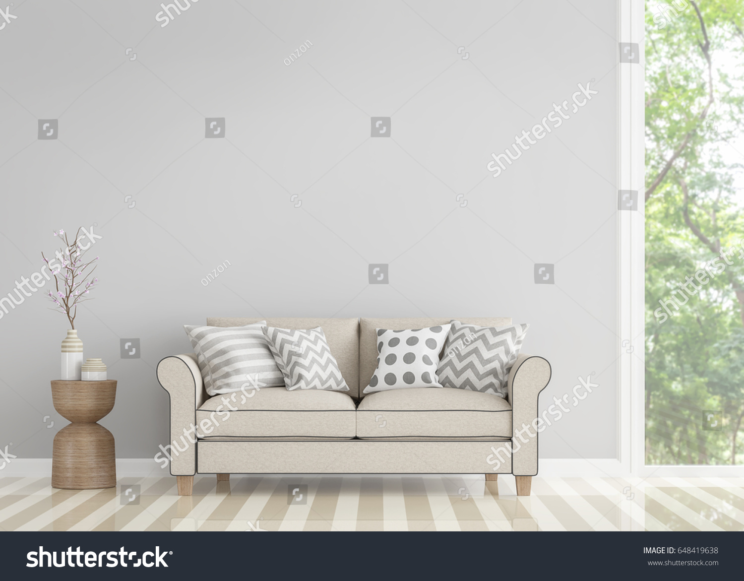 Modern Vintage Living Room 3 D Rendering Stock Illustration ...