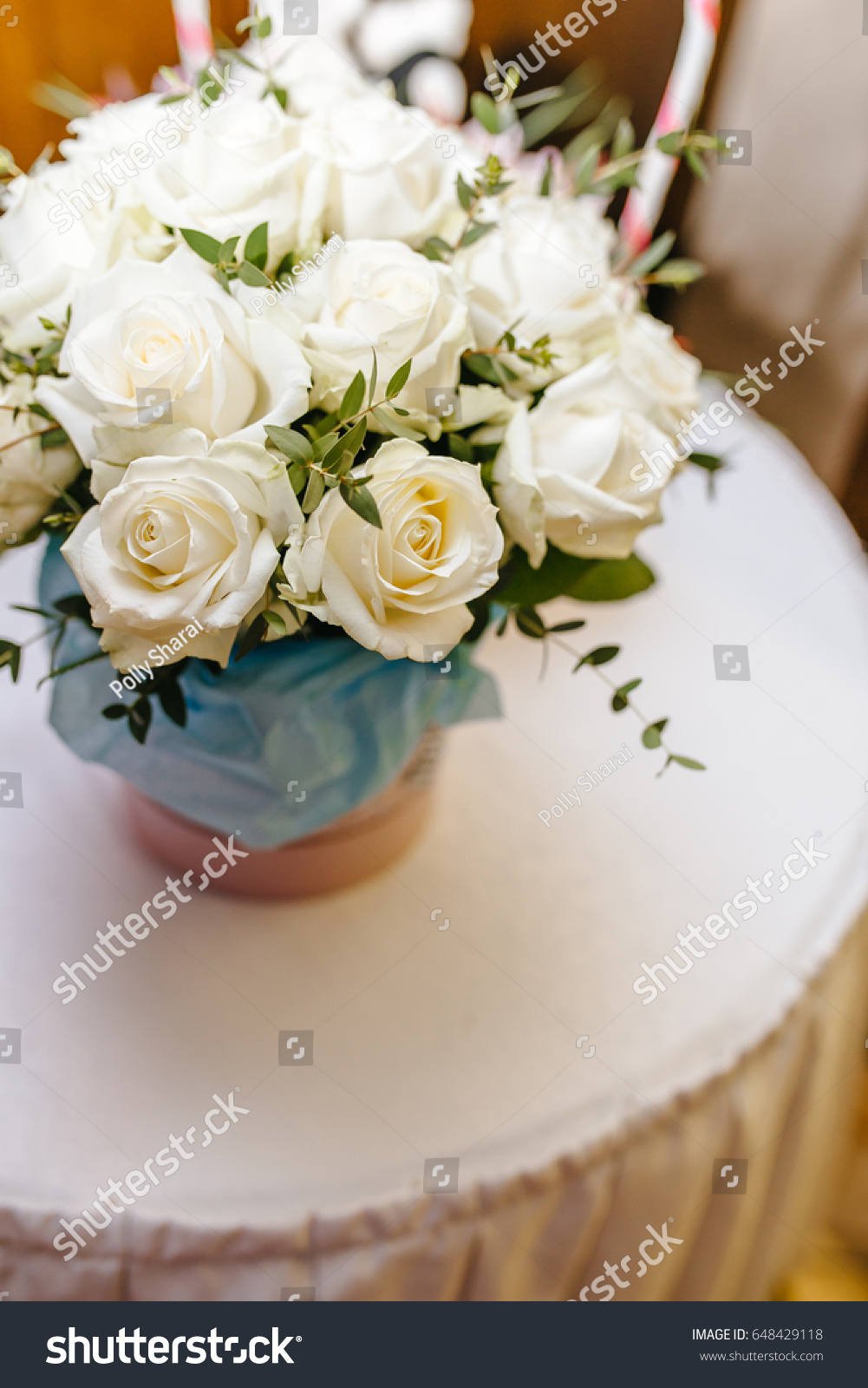 Bouquet White Roses On Table Flowers Stock Photo Edit Now