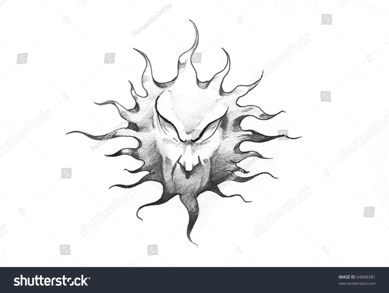 Line Art Of Sun : Sketch tattoo art sun face stock illustration 64846381 shutterstock