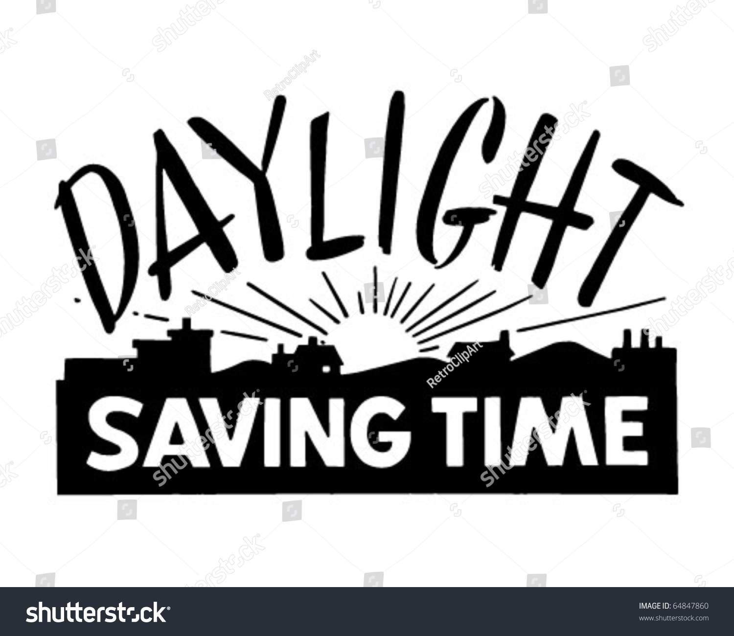 Daylight Saving Time - Ad Banner - Retro Clipart        - Vector