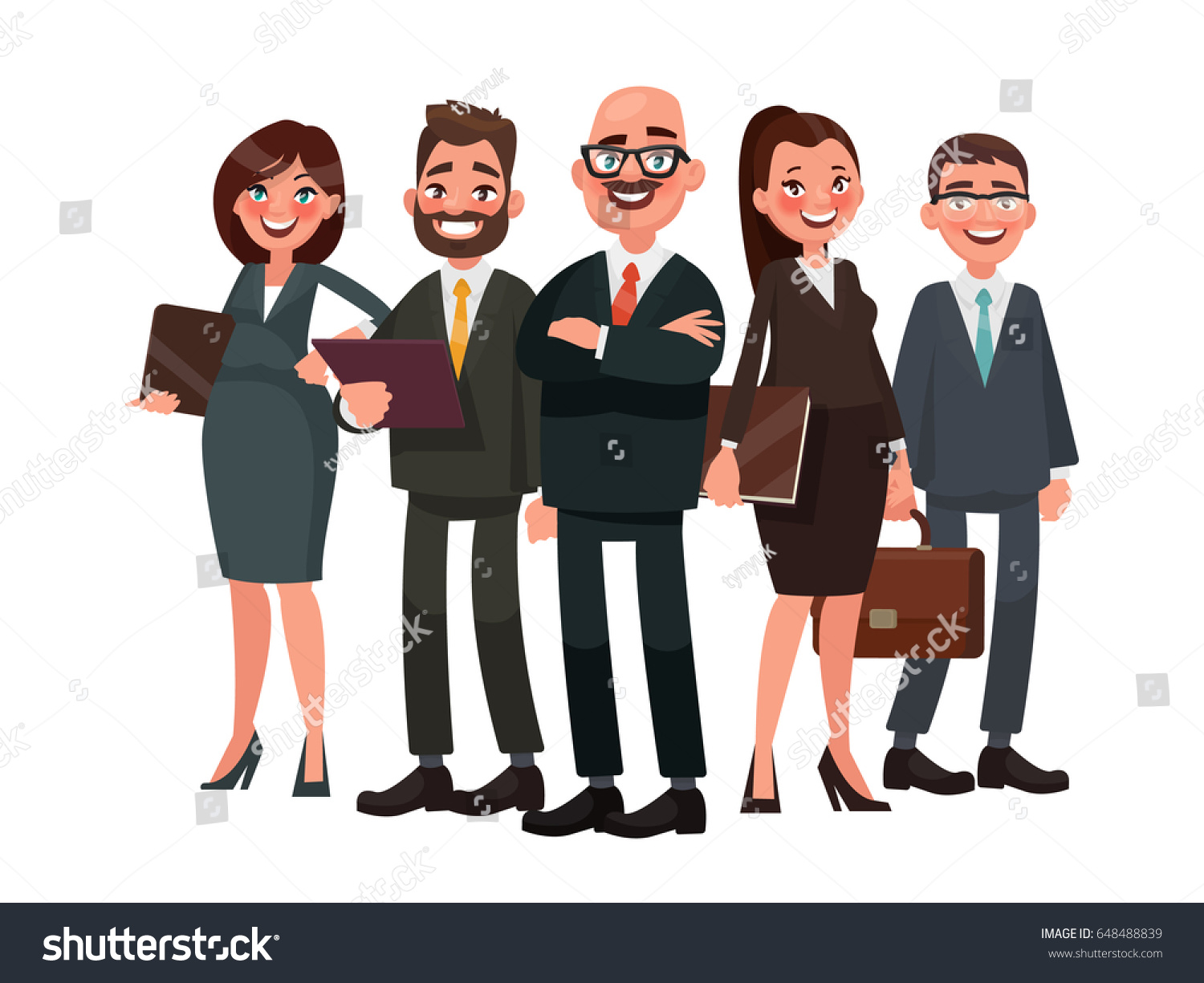 Business team cartoon characters cartoon vector cartoondealer com - Business People Are Led By A Leader Vector Illustration In Cartoon Style
