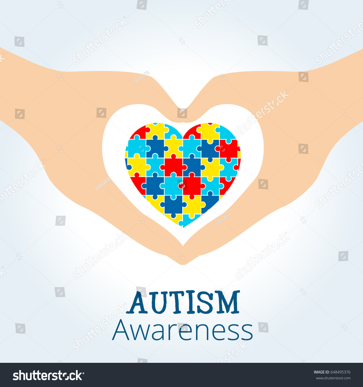 autism awareness concept heart puzzle pieces stock vector