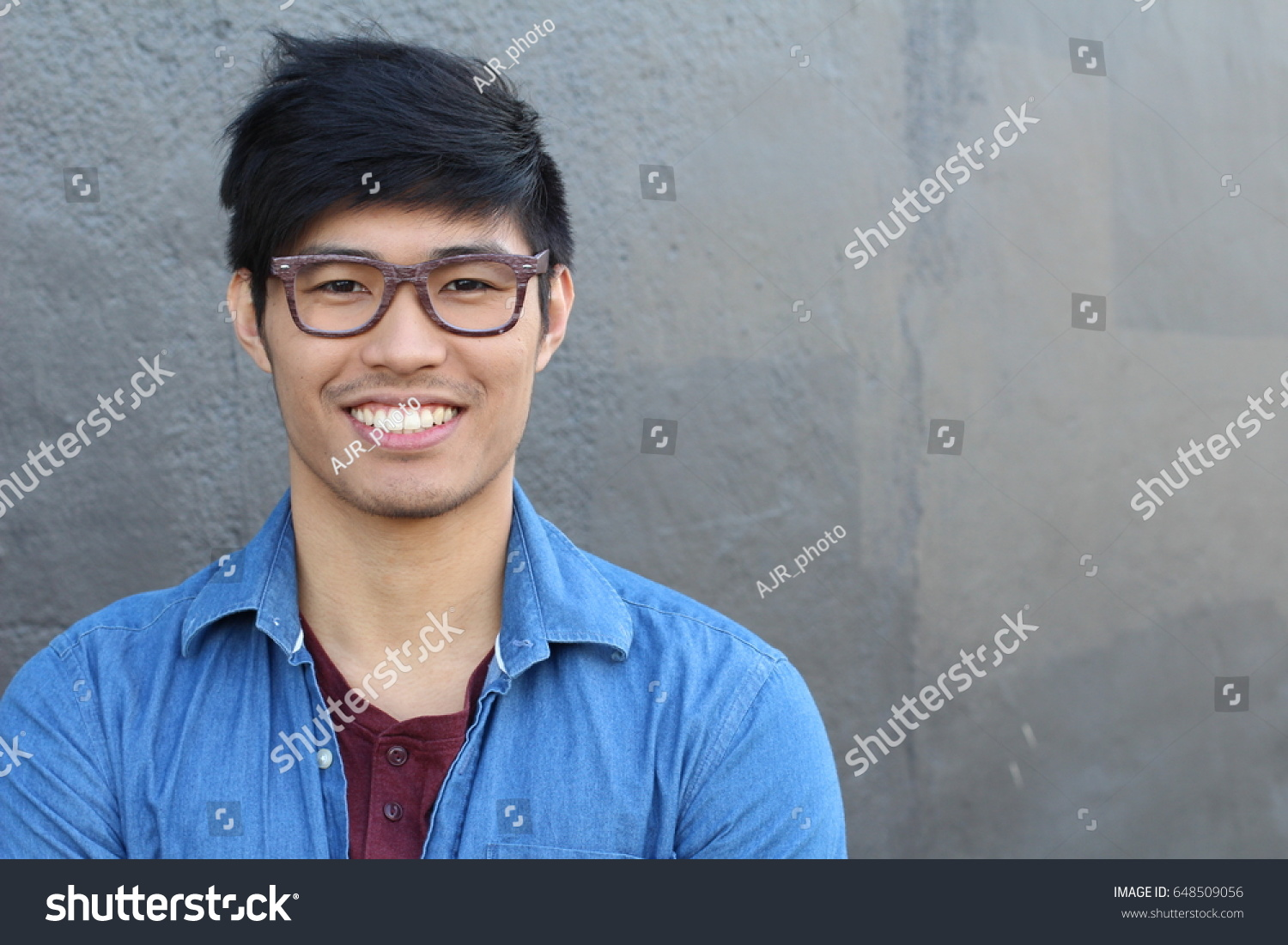 e13074b2725a Asian Man Portrait Smiling Isolated Copy Stock Photo (Edit Now ...