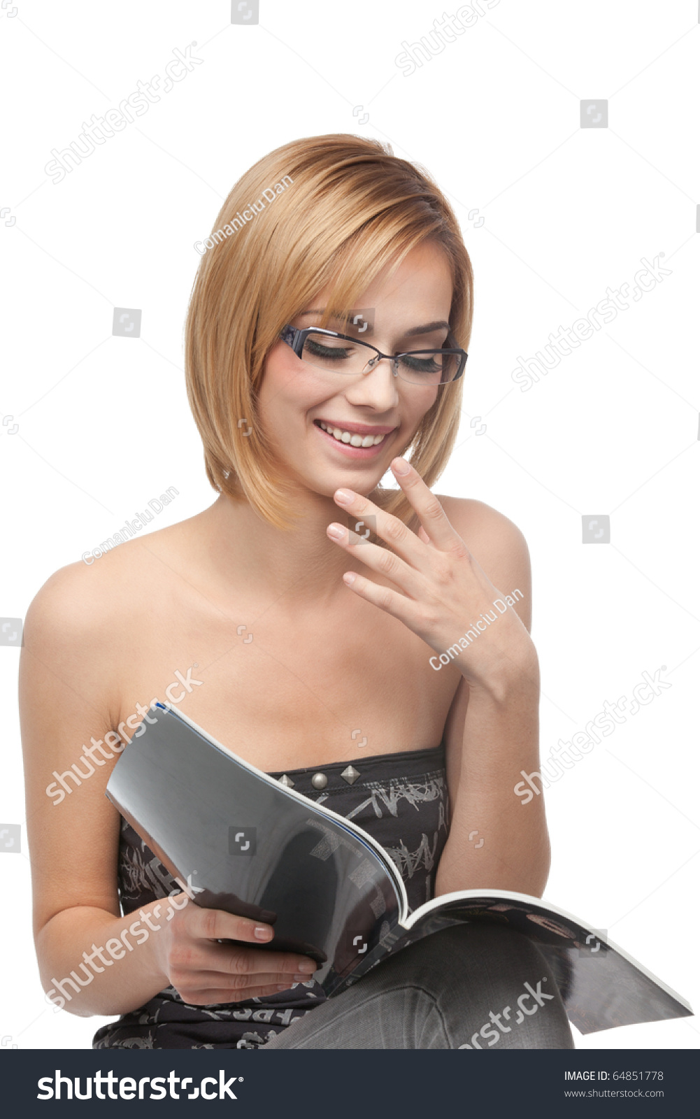 Portrait Young Blonde Woman Wearing Glasses Stock Photo