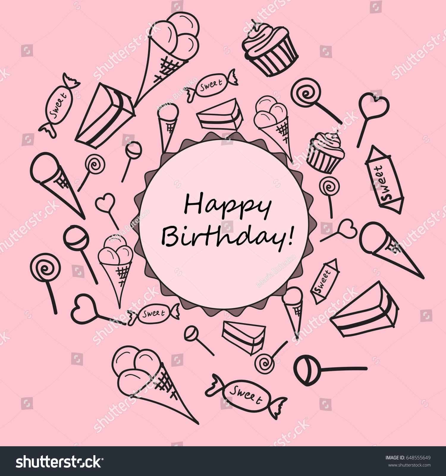 Happy Birthday Card Childrens Drawings Of Sweets Vector Illustration