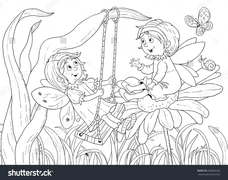 Cute Fairies Chatting Among Flowers Fairy Stock Illustration ...
