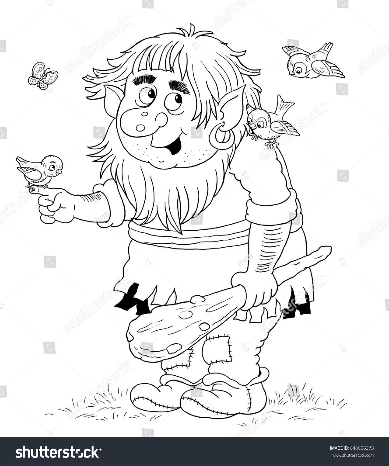 Cute Troll Birds Butterflies Fairy Tale Stock Illustration 648606373 ...
