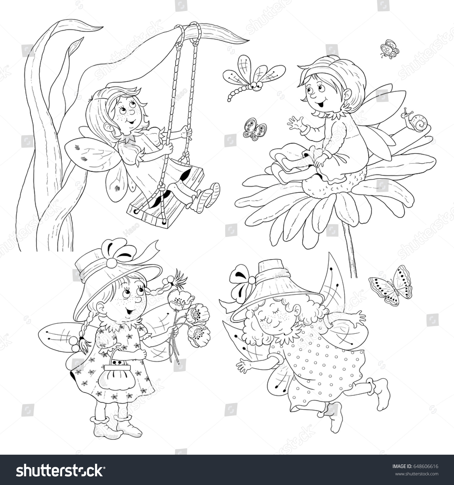 Four Cute Fairies Fairy Tale Coloring Stock Illustration