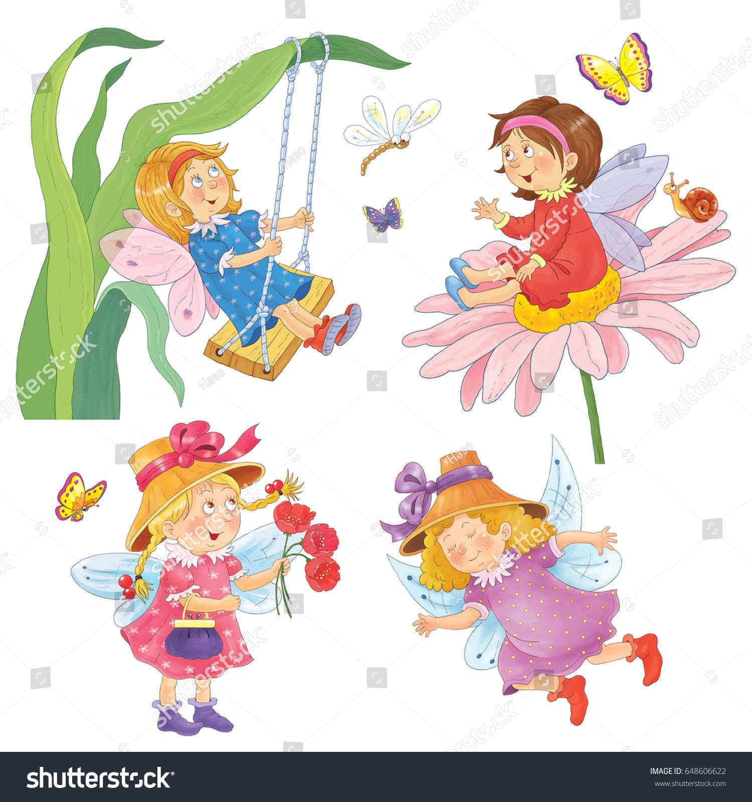 Four Cute Fairies Fairy Tale Coloring Stock Illustration 648606622 ...