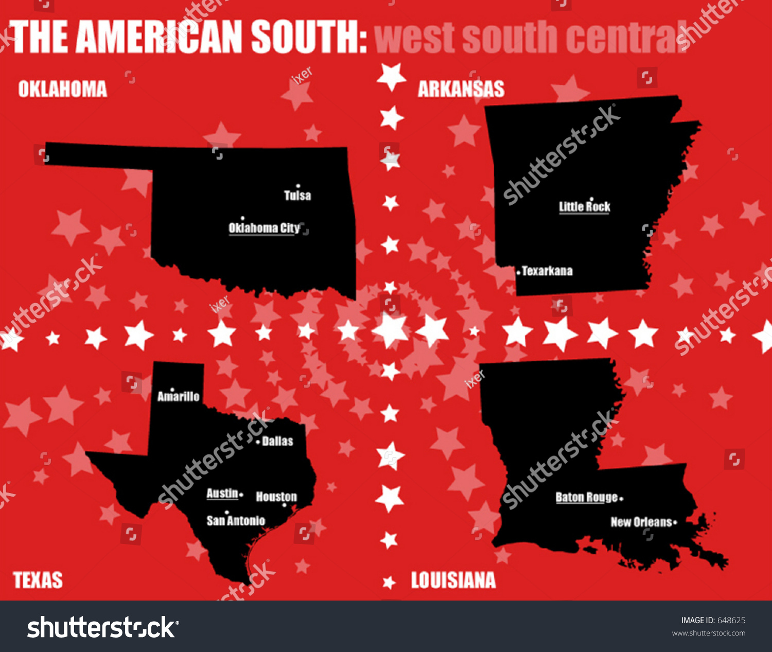 Usa Maps American South West South Stock Vector  Shutterstock - Usa map states and caps