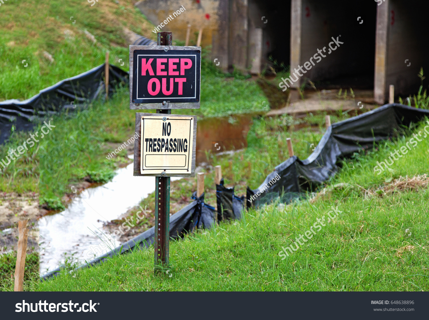 Keep Out No Trespassing Signs Flooded Stock Photo (Edit Now