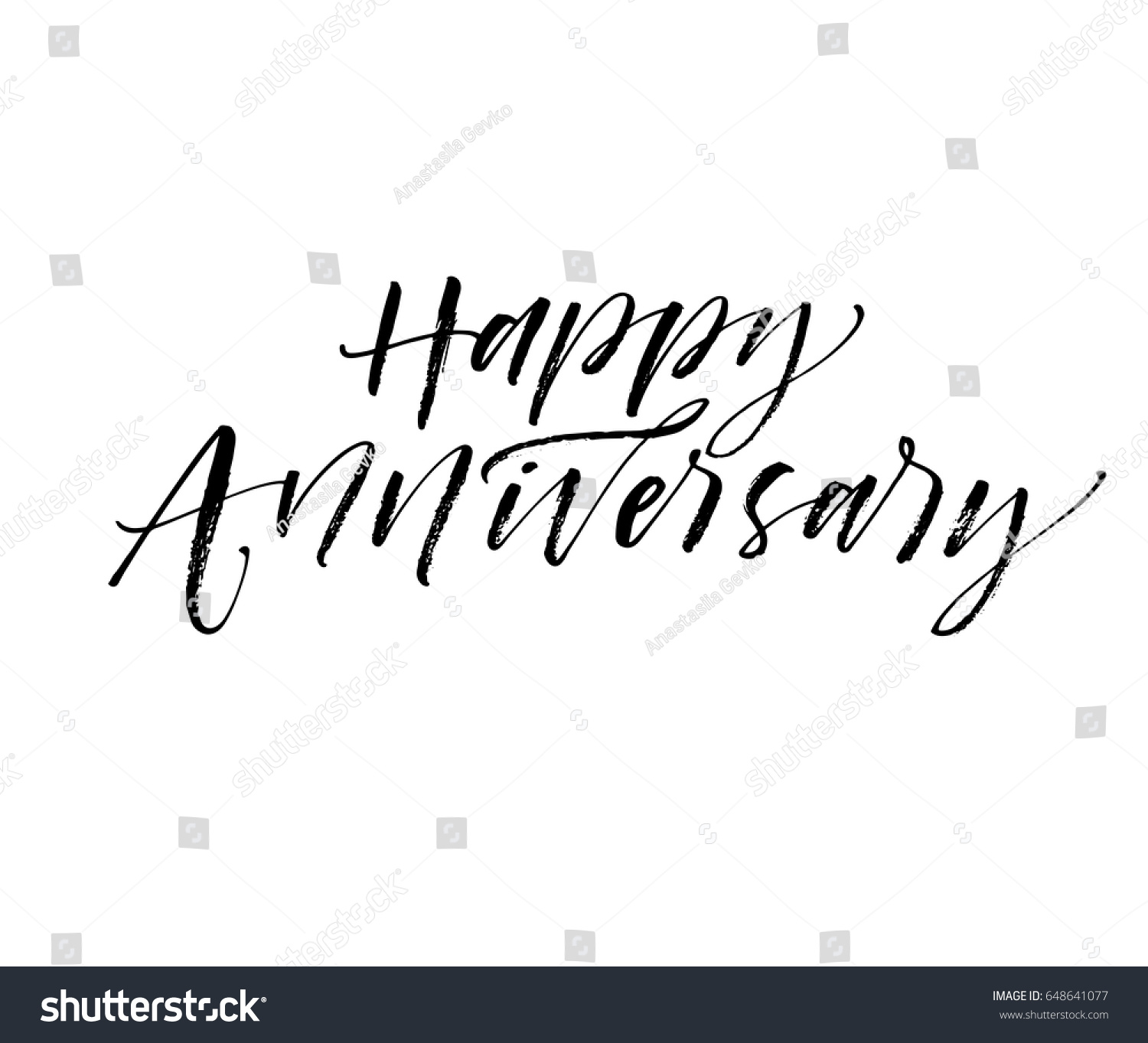 Happy anniversary card ink illustration modern stock